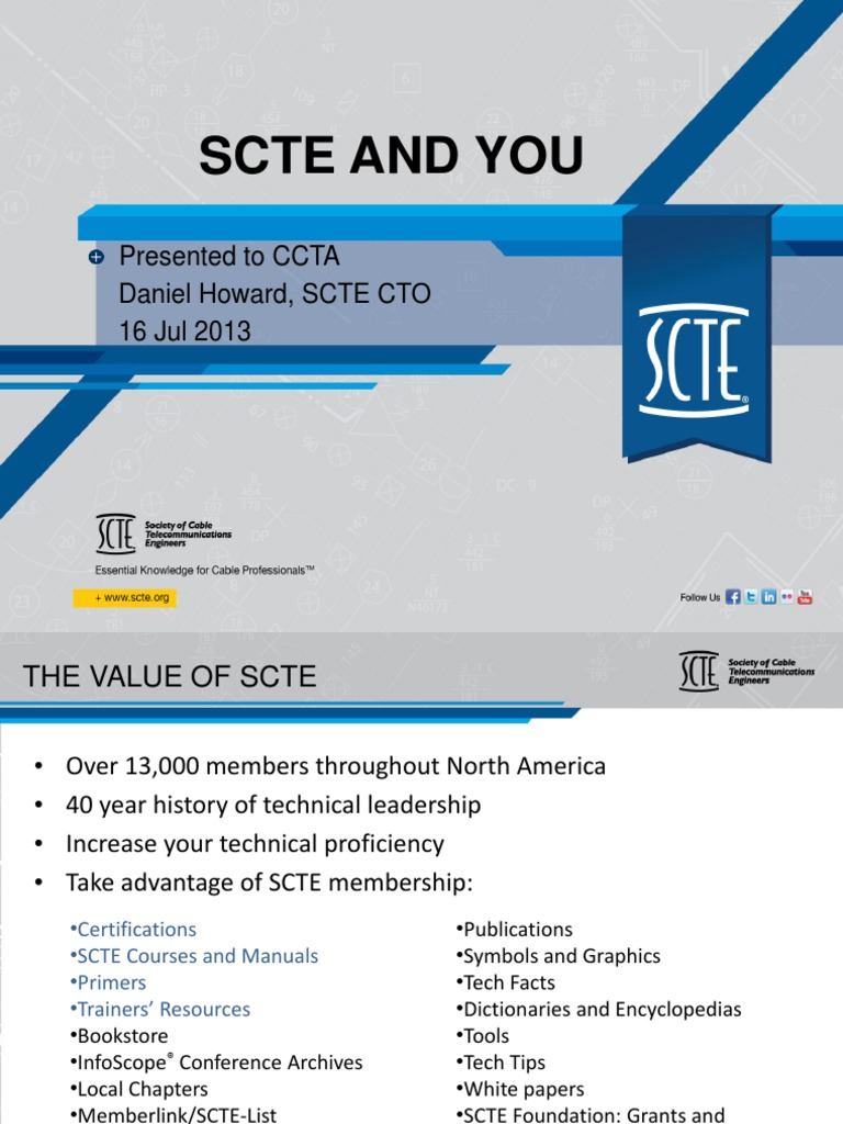 SCTE Overview to CCTA Puerto Rico | Computer Network | Strategic Management