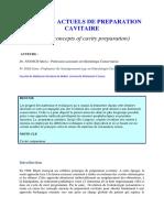 Concepts Actuels de Preparation Cavitaire