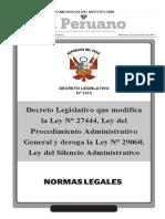 DLeg N° 1272 que modifica Ley N° 27444