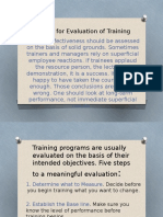 Criteria for Evaluation of Training