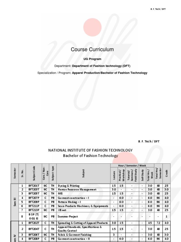B.F Tech.(III, IV, V, VI, VII) Course Curriculam Running | Dyeing | Textiles
