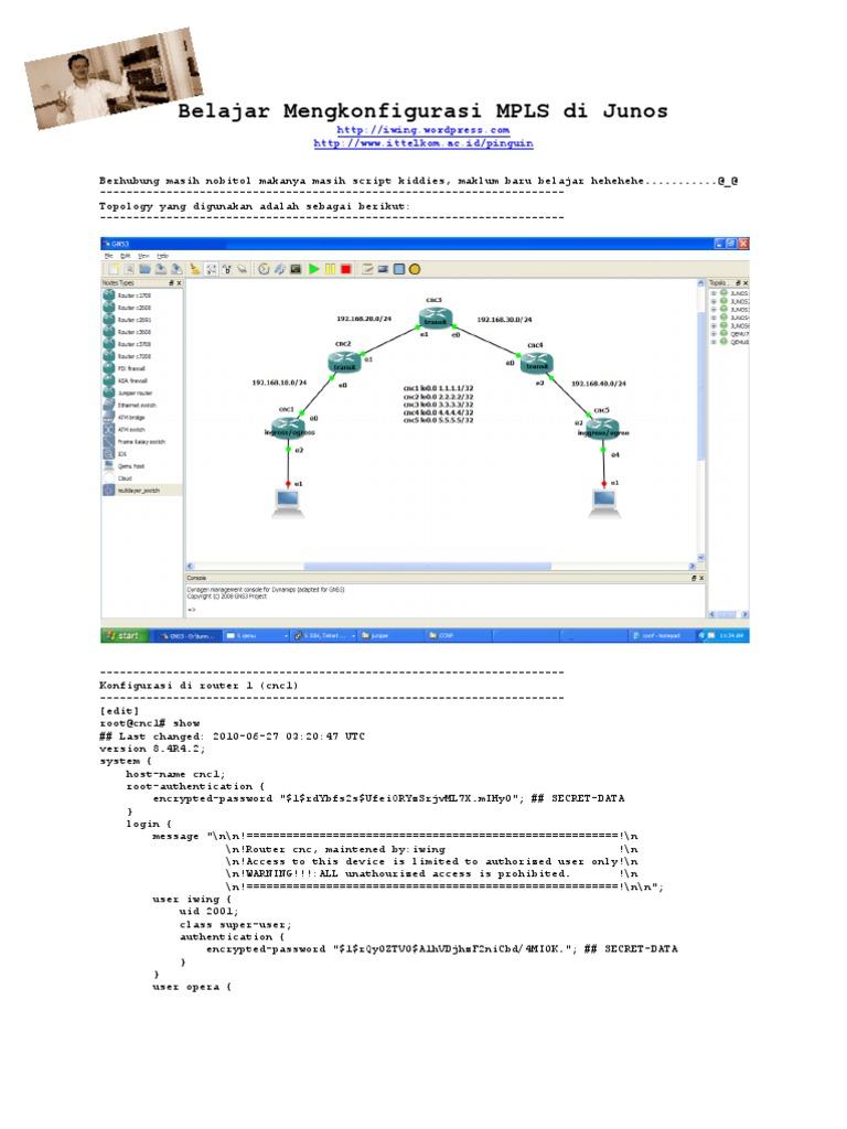 Belajar Mengkonfigurasi MPLS di Junos | Multiprotocol Label