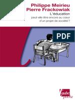 L'éducation peut-elle être encore au cœur d'un projet de société (2009)