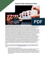 Keuntungan Bermain Poker Indonesia Online