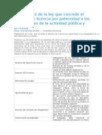 Derecho a Licencia Por Paternidad