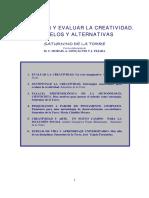 Educreate. Saturnino de La Torre. Investigar y Evaluar La Creatividad
