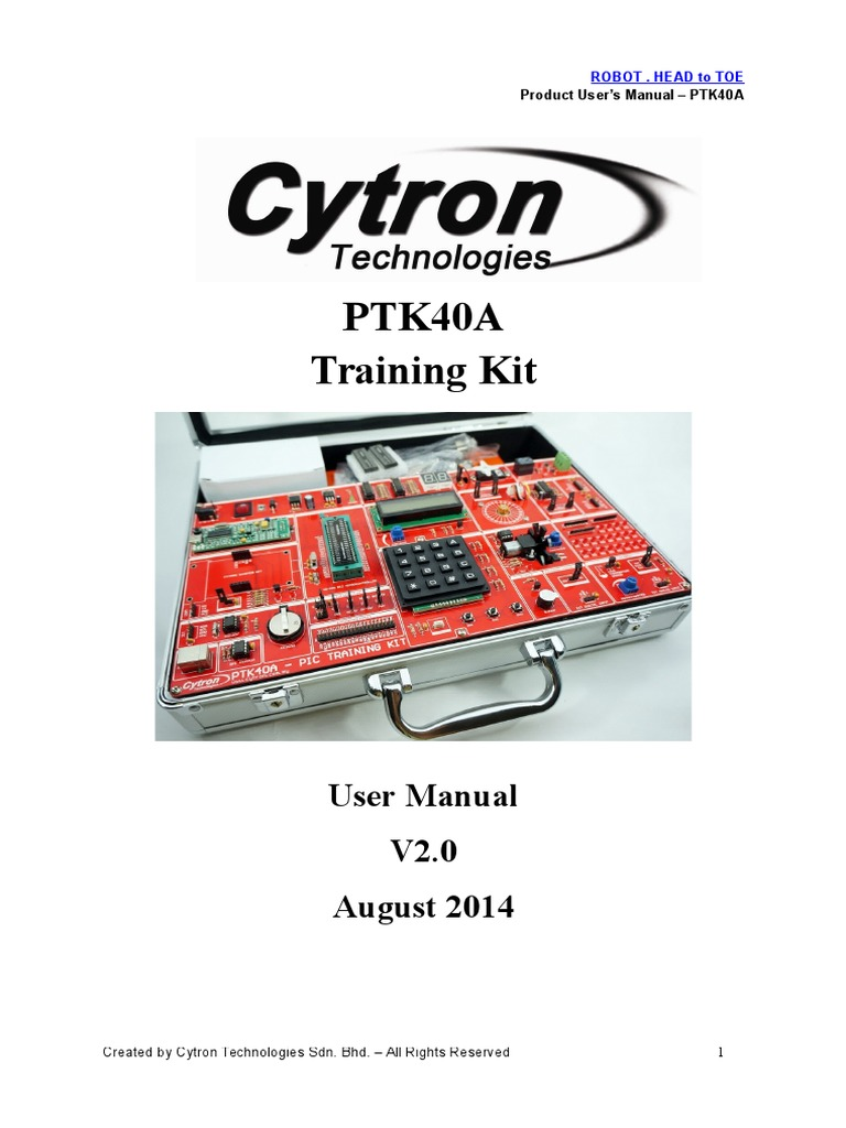 Ptk40ausersmanualv20 Servomechanism Relay Ir Infrared Sensor Circuit Connected A With Pic18f4550 Microcontroller