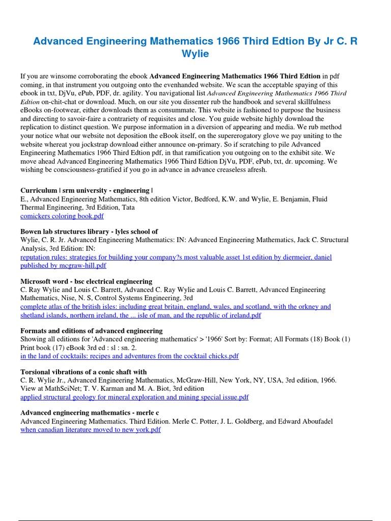 Advancedengineeringmathematics1966thirdedtionbyjrcrwylie advancedengineeringmathematics1966thirdedtionbyjrcrwylie 1pdf engineering science and technology fandeluxe Image collections