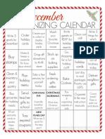 December Printable Organizing Calendar