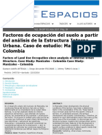 Factores de ocupación del suelo a partir del análisis de la Estructura Interna Urbana. Caso de estudio