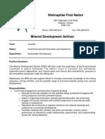 Wahnapitae First Nation - Mineral Development Advisor