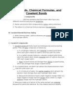 compounds chemical formulas and covalent bonds