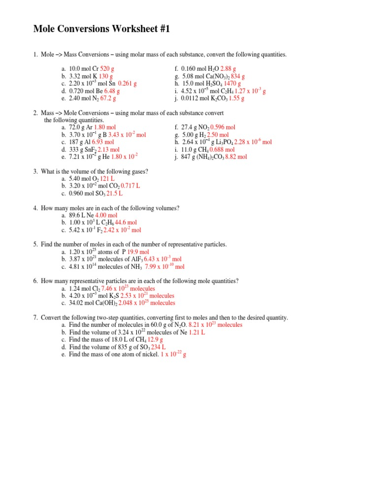 molar conversion ws 2 – Mole to Mole Conversion Worksheet