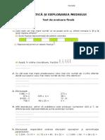 clasa a III-a Mate Test Evaluare Finala