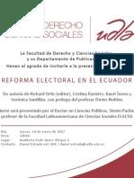 """Invitación presentación del libro """"Reforma electoral en Ecuador"""""""