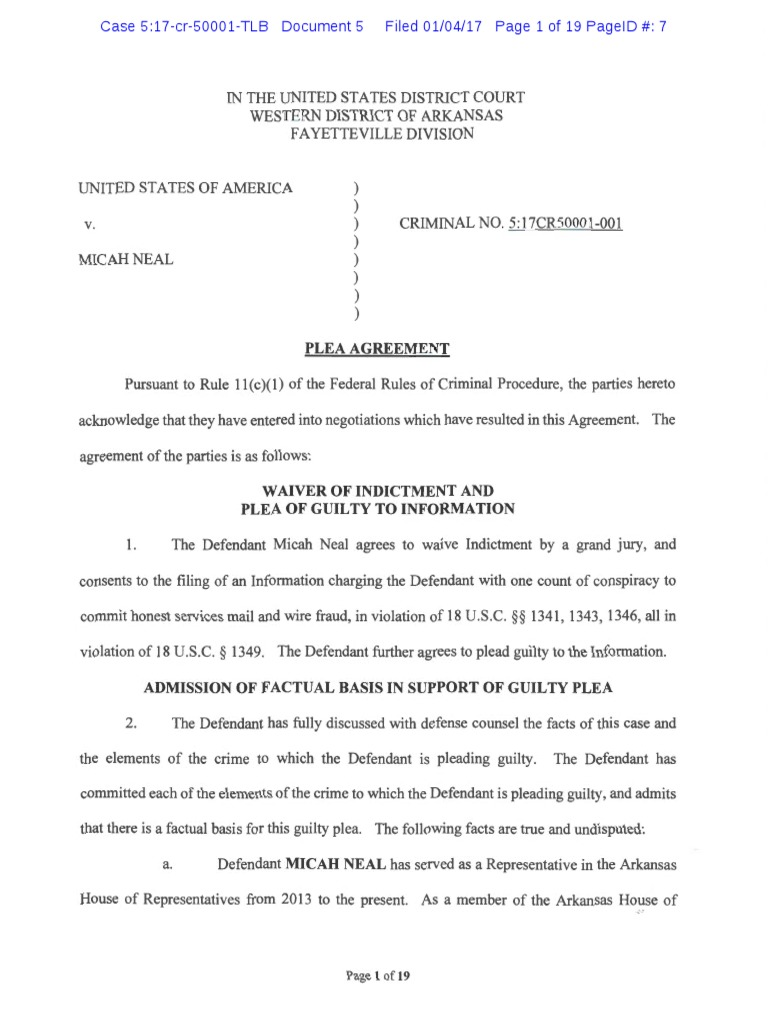 Micah Neal Plea Agreement | United States Federal Probation And ...