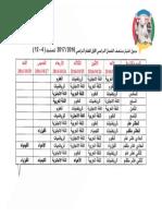 جدول الاختبار