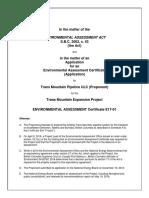 Trans Mountain environmental certificate