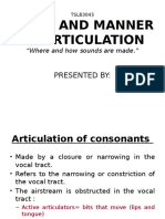Place & Manner of Articulations Consonants