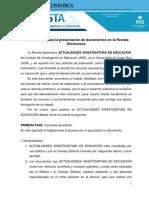 Instrucciones Para La Presentación de Documentos en La Revista Actualidades Investigativas en Educación UCR