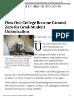 Chronicle of Higher Ed Ground Zero for Unionization Nov 23 2015