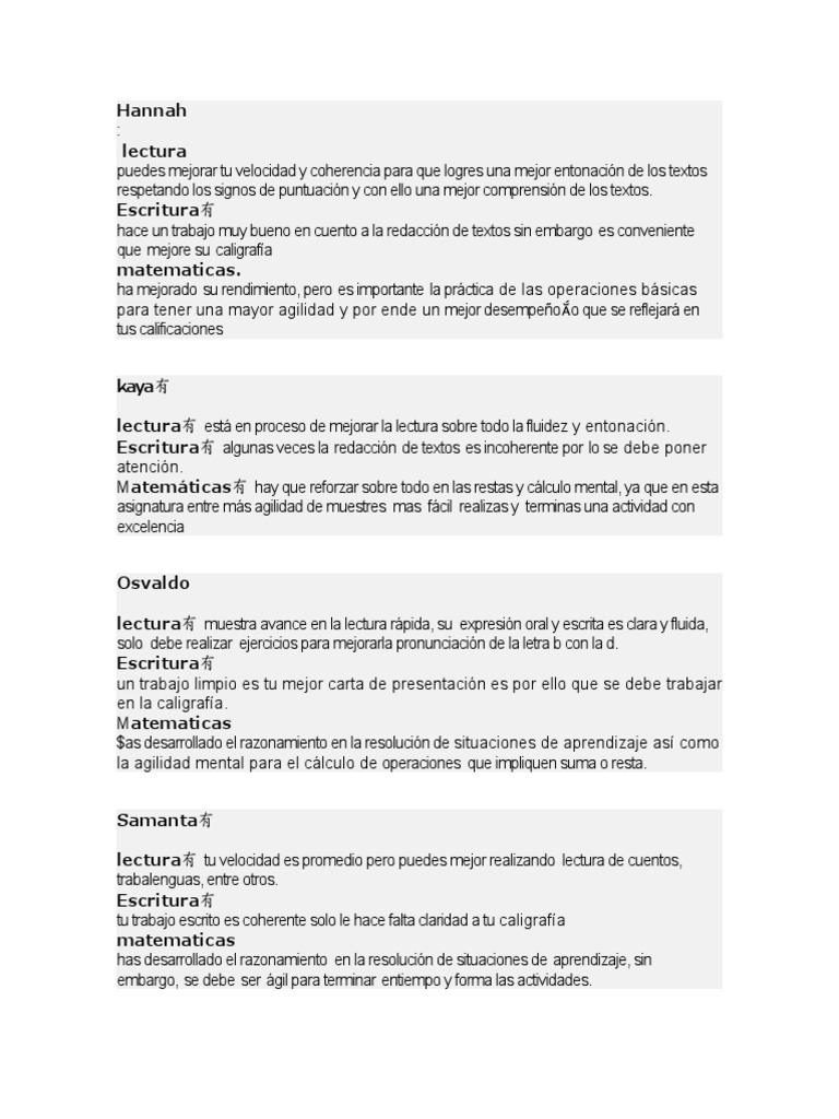 Observaciones Lectura-escritura y Matematicas