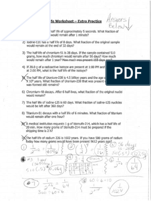 half life extra practice worksheet answer key