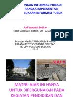 Perlindungan informasi pribadi dlm rangka implementasi KIP, Batam, JJE 20100722
