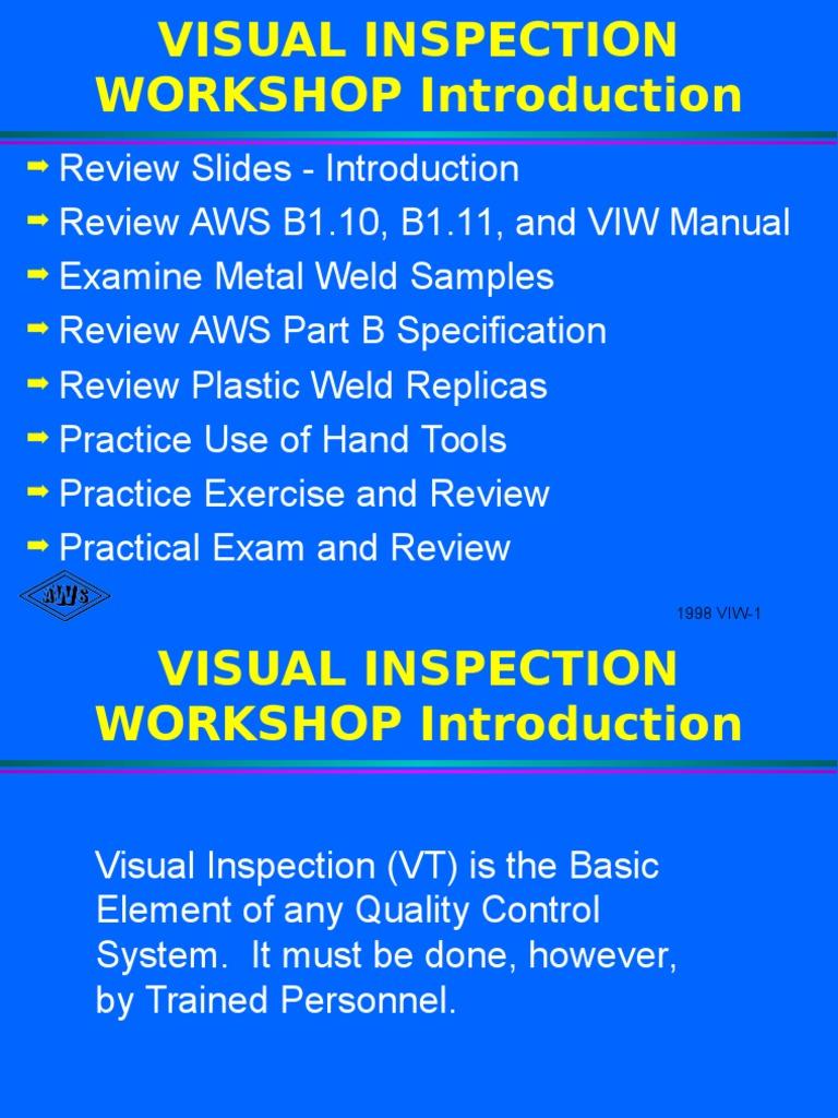 Aws Visual Inspection | Metalworking | Mechanical Engineering