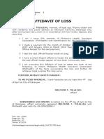 Affidavit of Loss - Melchor Tulalian