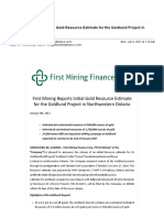 First Mining Reports Initial Gold Resource Estimate for the Goldlund Project in Northwestern Ontario