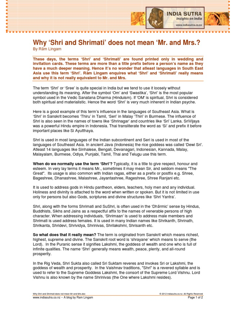 Why shri and shrimati does not mean mr and mrs sri indian religions stopboris Images