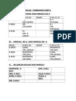 Jadual Waktu Kelas Tambahan Sabtu