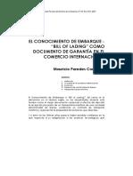 El Conocimiento de Embarque (Bill of Trading) Como Documento de Garantía en El Comercio Internacional - Mauricio Paredes Contreras