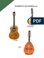 mga halimbawa ng instrumento ng rondalya, banda, pangkat kawayan at etniko