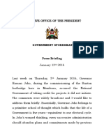 Press Briefing Government Spokesperson, Eric Kiraithe. - 12th January, 2017