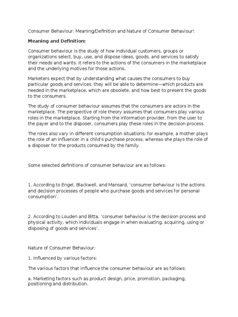 Consumer Behaviour Nature | Consumer Behaviour | Behavior