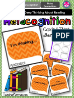 Met a Cognition Question Cards Reading Think Sheet Comprehension