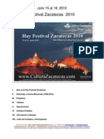 Hay Festival Zacatecas 2010 - Programa e Informacion General