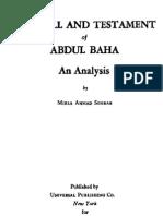 The Will and Testament of Abdul Baha. An Analysis. Ahmad Sohrab, Bahai, Faith, Reform, Movement, Abdul, Baha, bahaullah,