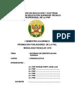 Monografia Sistema de Identificacion Humana - A1 Pnp Roque Panti Jose Luis
