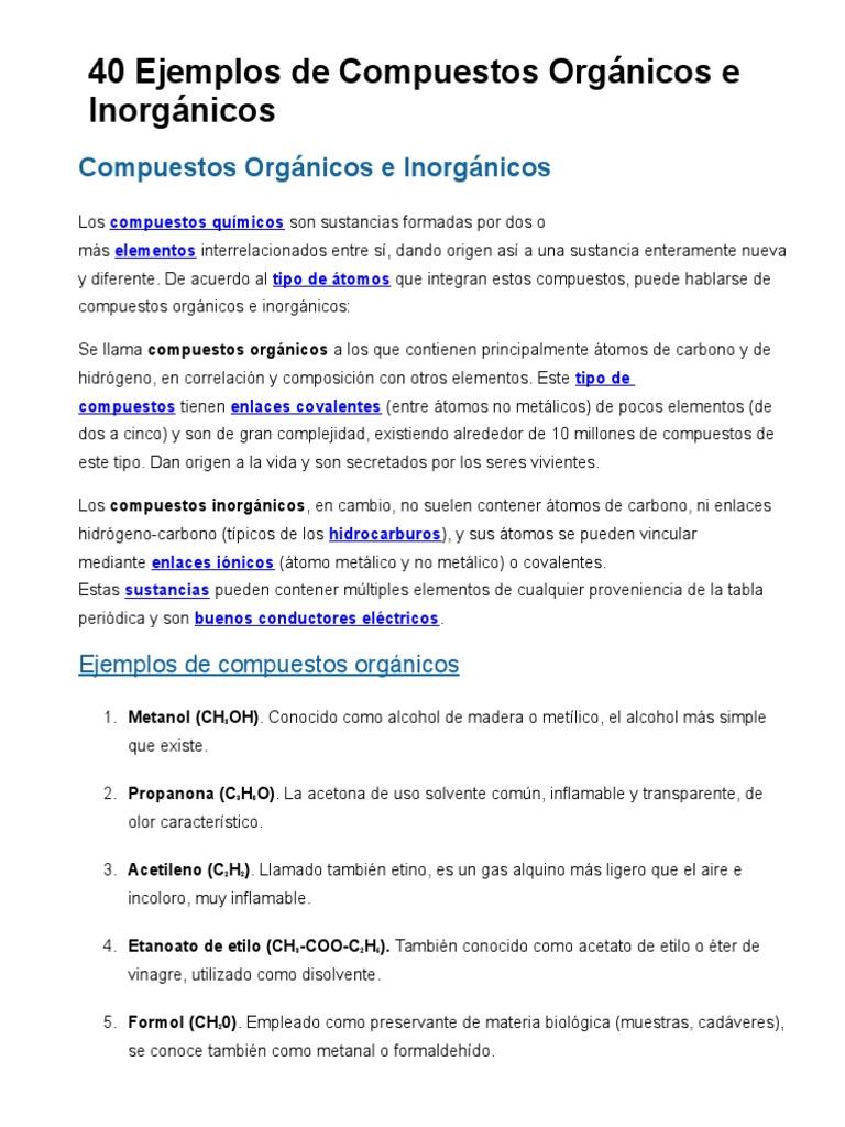 40 ejemplos de compuestos orgnicos e inorgnicos urtaz Images