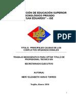 PRINCIPALES CAUSAS DE LOS CONFLICTOS ORGANIZACIONALES
