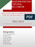 relacionentrelenguajeycomunicacionexposicion-121124204845-phpapp02