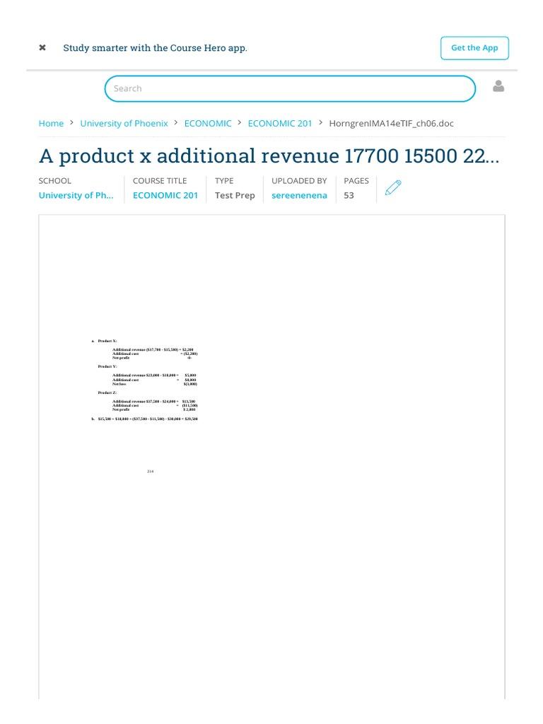 A Product X Additional Revenue 17700 15500 2200 - ECONOMIC