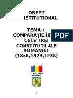 Comparatie Intre Cele Trei Constitutii Ale Romaniei-1866-1923-1938 (REFERAT)