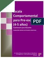 2013 2014. Escala Comportamental Para Preescolares