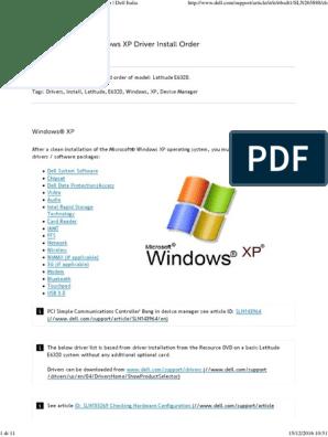 Latitude E6320_ Windows XP Driver Install Order _ Dell