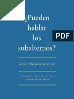 Spivak Pueden Hablar Los Subalternos.