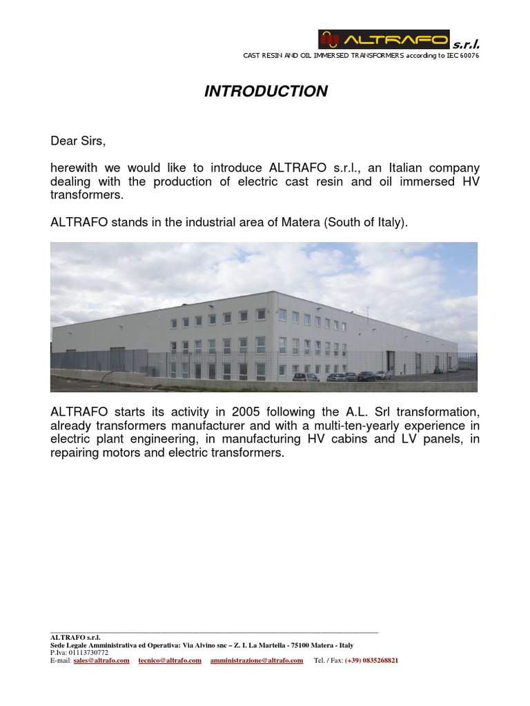 Altrafo Description New | International Electrotechnical Commission |  Transformer